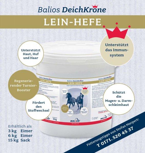 Balios Deichkrone Lein-Hefe für Pferde, 15 kg